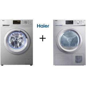 Pack lavage Haier : Lave linge frontal W8436S (8 kg, 1400 trs/min, A+++) + Sèche-linge à condensation HD836S (8 kg, Classe B)