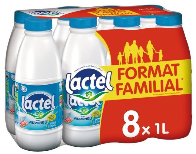 2 Packs de 8 bouteilles de Lait demi-écrémé Lactel - 2x8x1L