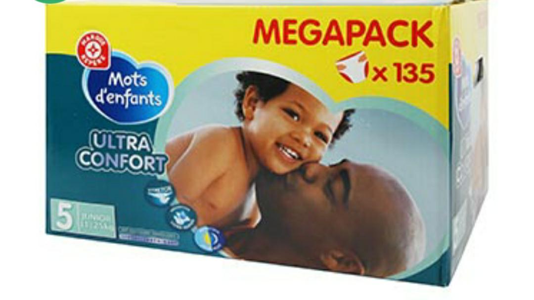 3 Packs de 135 Couches bébé Mots d'enfants T5 Ultra confort - 11/25kg (Différentes tailles)