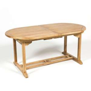 Table de jardin ovale extensible Teck FSC - 170 / 210 x 90 cm