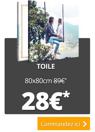 Photo personnalisée sur toile - format carré 80 x 80 cm (ou en 20x20, 40x40, 60x60)
