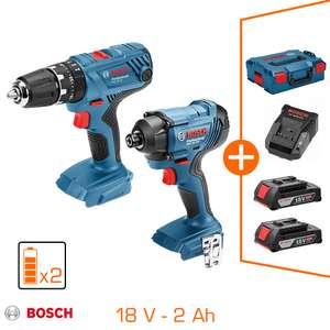 Pack Perceuse à percussion + Visseuse à chocs Bosch Professional 18V (GSB 18V-21 GDR 18V-160) - 2 batteries 2.0Ah, chargeur, coffret L-Boxx