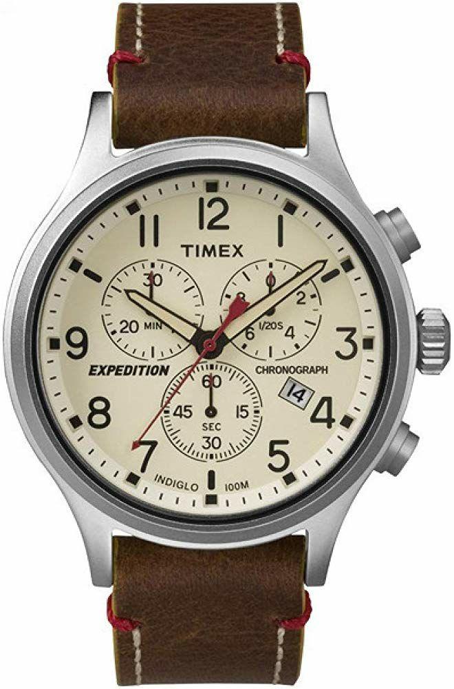 Montre Analogique Quartz Timex Expedition TW4B04300 - 42 mm, 10 ATM, Bracelet en cuir marron
