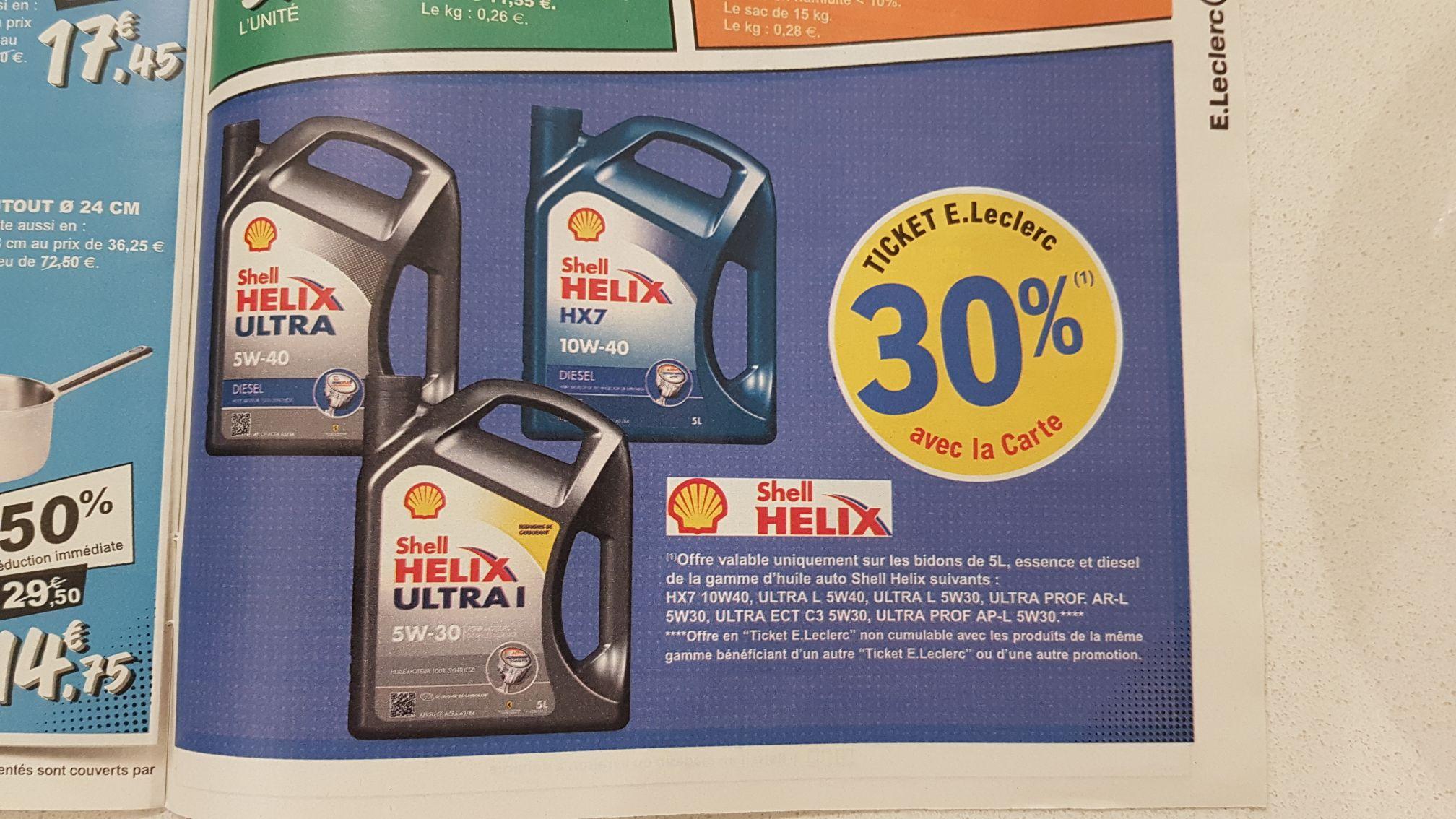 30% à 50% remboursés en tickets E.Leclerc sur une sélection d'huiles moteur Shell Helix HX7 ou Ultra