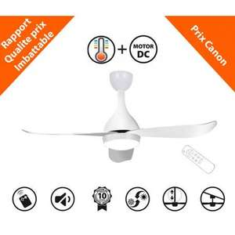 Ventilateur de plafond KlassFan Costos - 6 vitesses, 1200 lumens (ventilateurs-plafond.com)