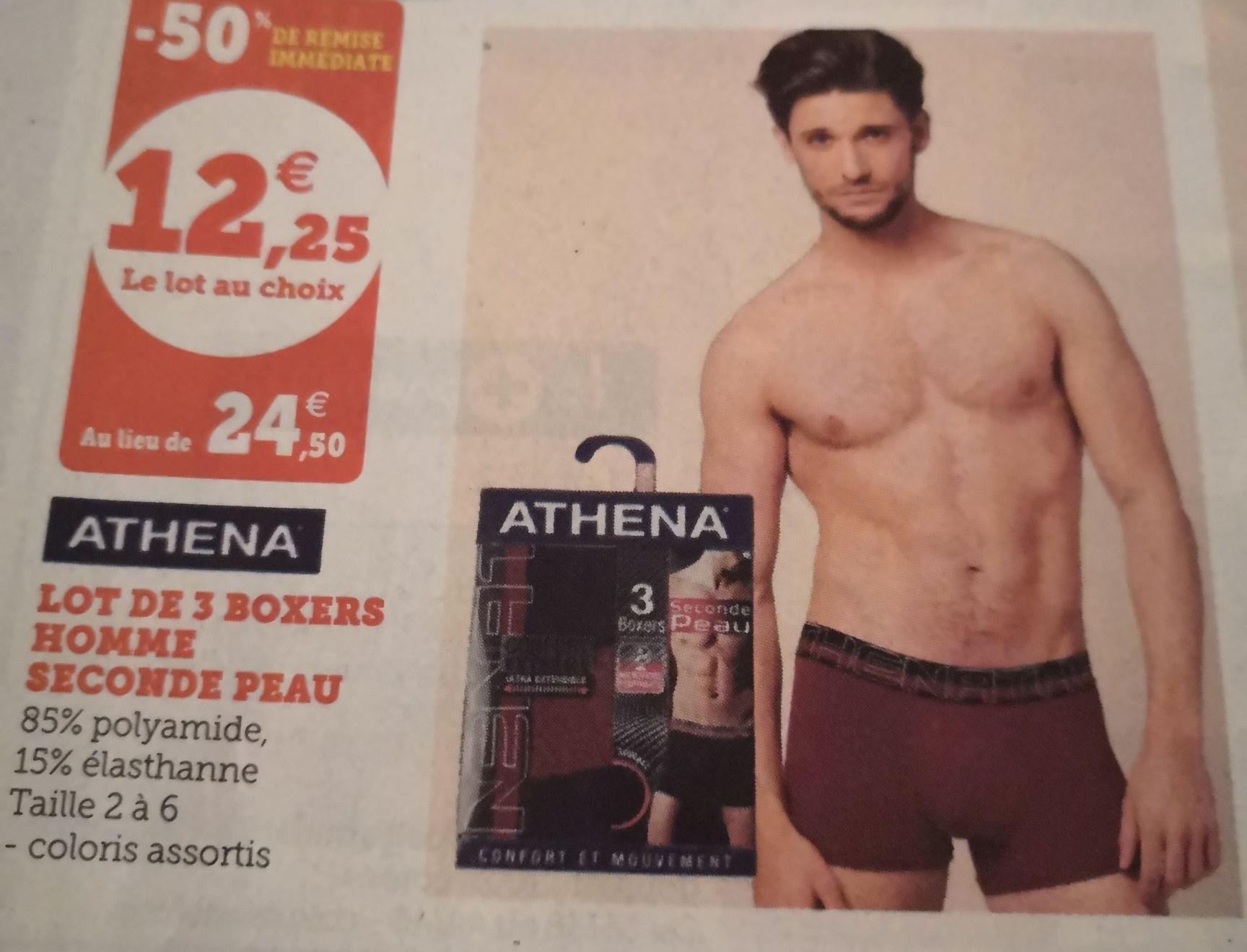 Lot 3 Boxers Athena Seconde Peau pour Homme