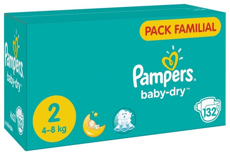 Pack Familial de Couches Pampers Baby Dry - Taille 2 a 7 (Via Carte de Fidélité + BDR)