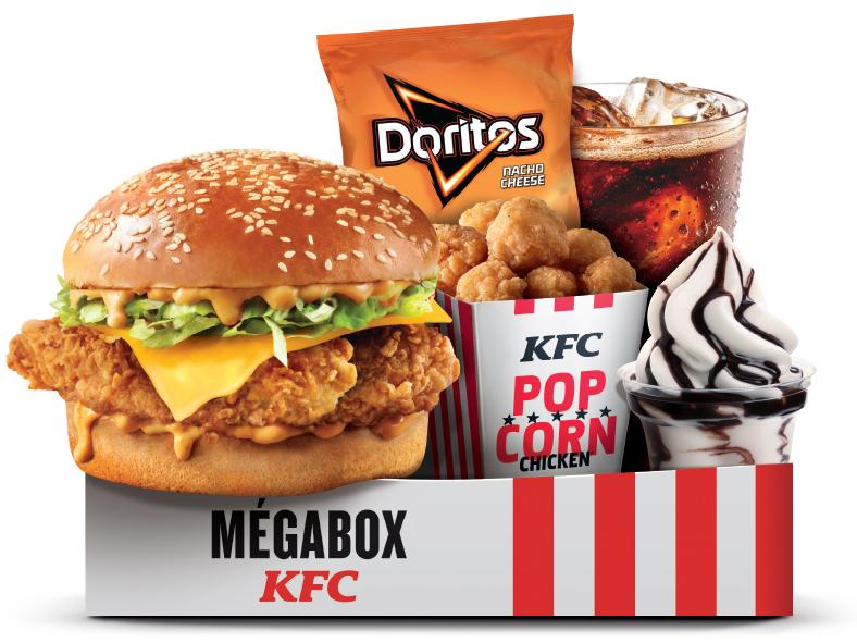 Menu Megabox: Double Krunch Cheese ou Fish + Moyenne Boisson + 11 Popcorn Chicken + Sundae ou Cookie + Moyenne frites ou Chips Doritos