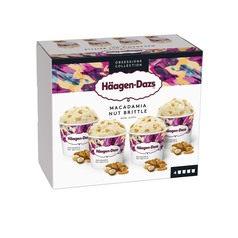 Lot de 2 paquets de Glaces Häagen-Dazs Vanille Macadamia Nut Brittle - 2 x 4 pots