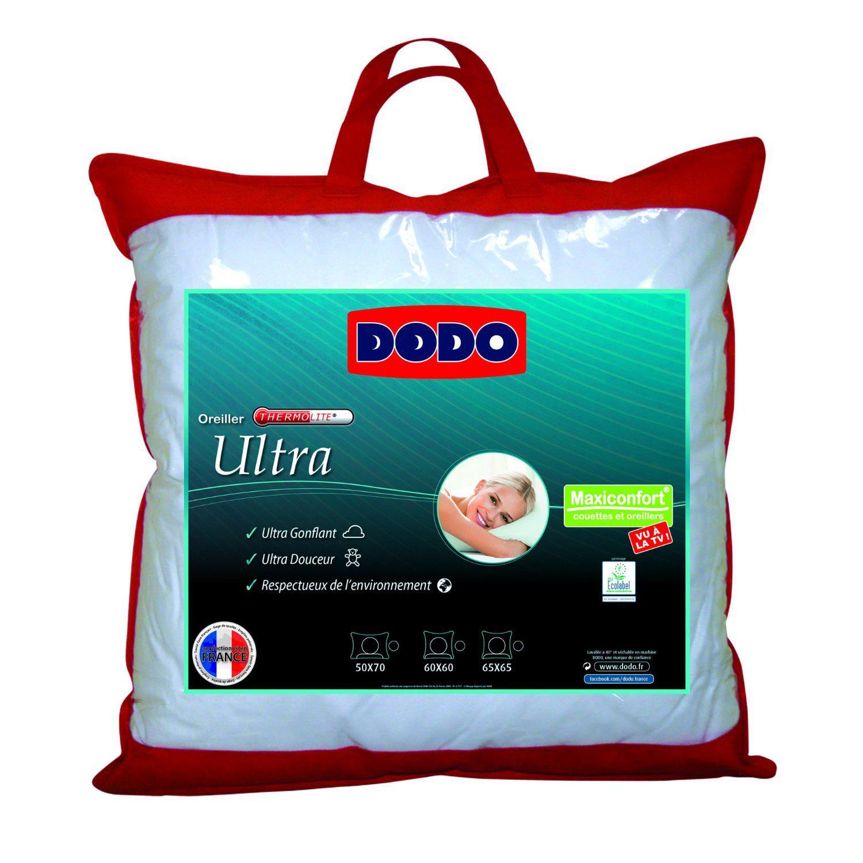 Oreiller Uni Classique Blanc 60 x 60 cm  Dodo Maxiconfort Ultra Synthétique Medium