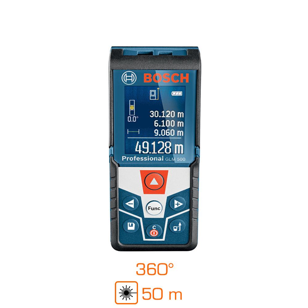 Télémètre laser 2 en 1 Bosch GLM 500 Professional - Portée : 50m, fonction niveau, capteur d'inclinaison 360°, IP54, précision ± 1.5 mm