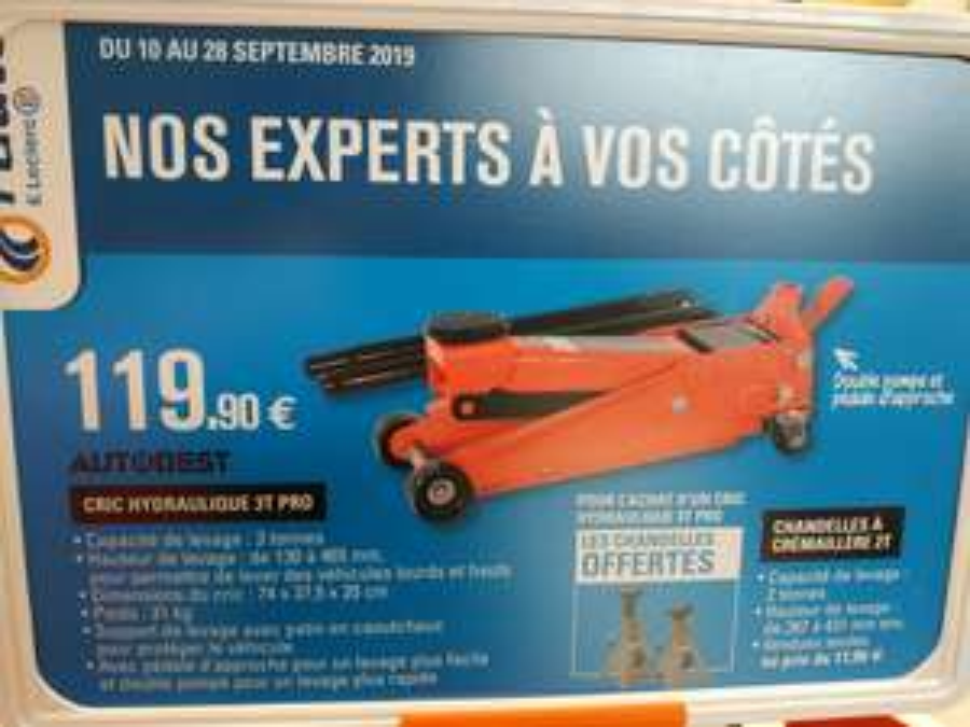 Cric Pro hydraulique roulant 3T Autobest + 2 chandelles (Leclerc Auto)