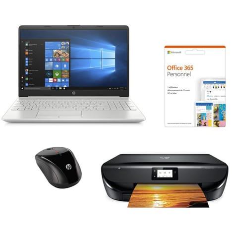 """Pack HP - PC portable 15.6"""" 15-dw0077nf (i3-7020U, 4 Go RAM, 256 Go SSD) + imprimante Envy 5010 + souris X3000 + Office 365 (via ODR 100€)"""