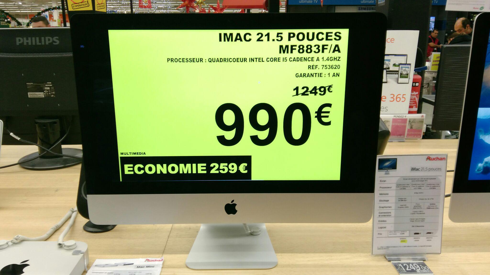 Apple iMac 21.5 (i5, 8 Go Ram, 500 Go HDD)