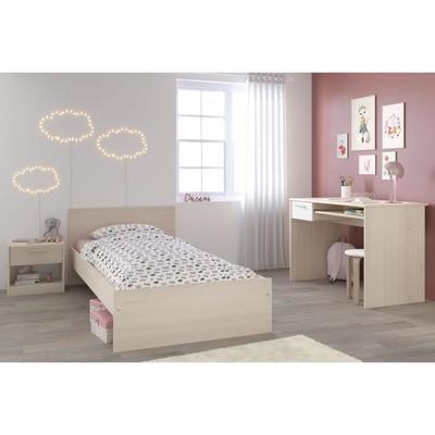 Chambre enfant complète Charlemagne : Lit + Chevet + Bureau - Style contemporain, Décor acacia clair et blanc
