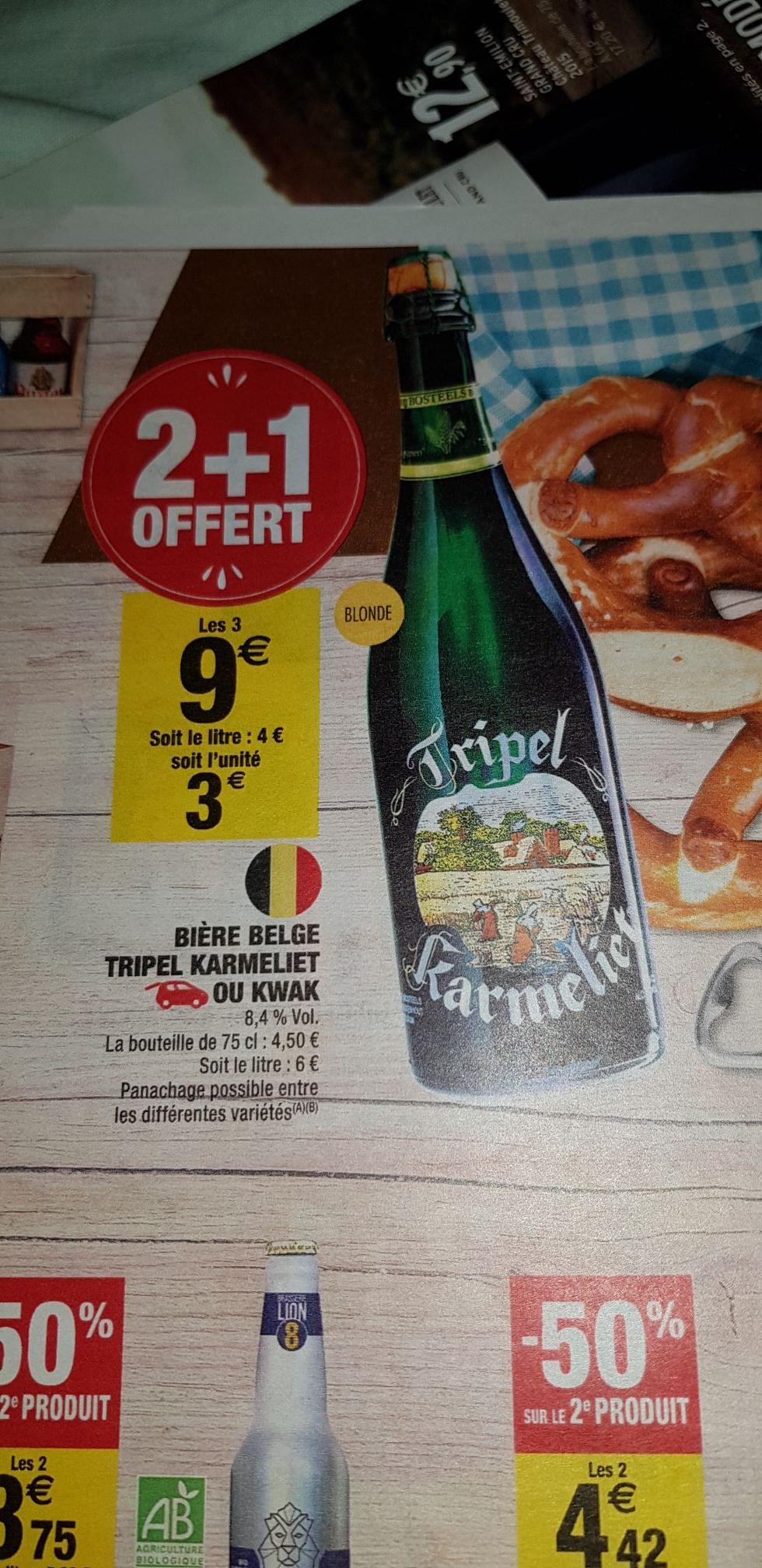 Lot de 3 bouteilles 75cl Bières Belge Karmeliet ou Kwak