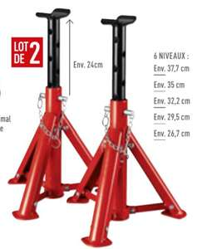 Lot de 2 Chandelles Pliables et Extensibles 6 niveaux  (Max: 2 Tonnes)
