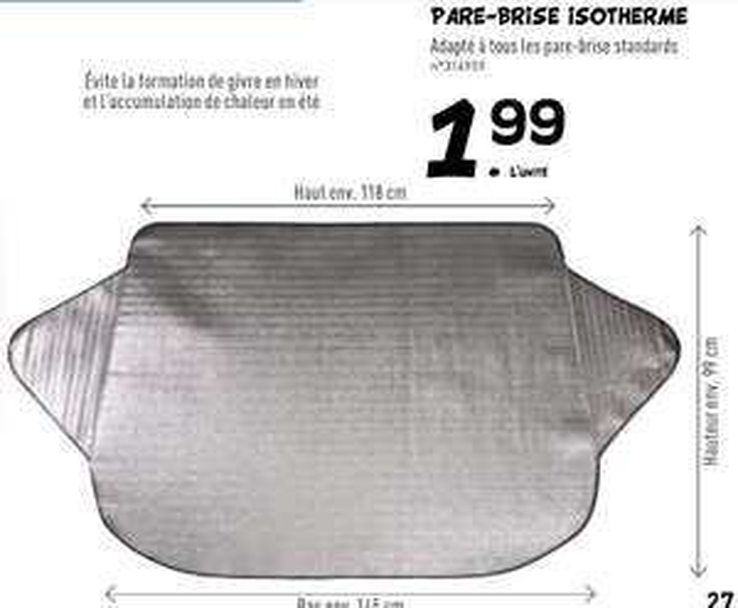 Protège pare-brise isotherme