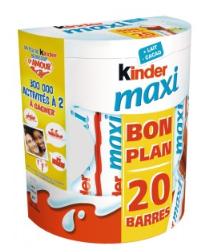 Lot de 20 Barres Kinder Maxi Chocolat (via 1,54€ sur la carte de fidélité + BDR)