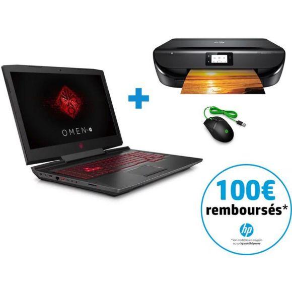 "PC Portable 17.3"" HPOmen 17-AN199NF -  i7-8750H, HDD 1 To + SSD 128 Go + Souris Pavilion Gaming + Imprimante Envy 5010 (via ODR de 100€)"