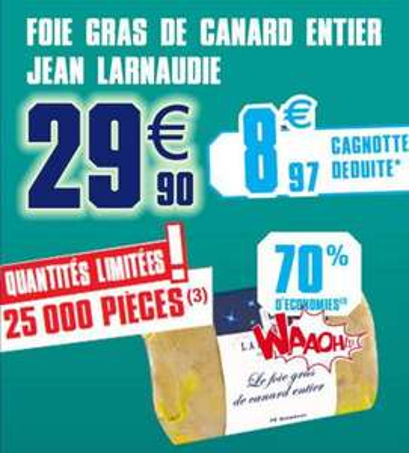 Foie gras Jean larnaudie (70% sur la carte)
