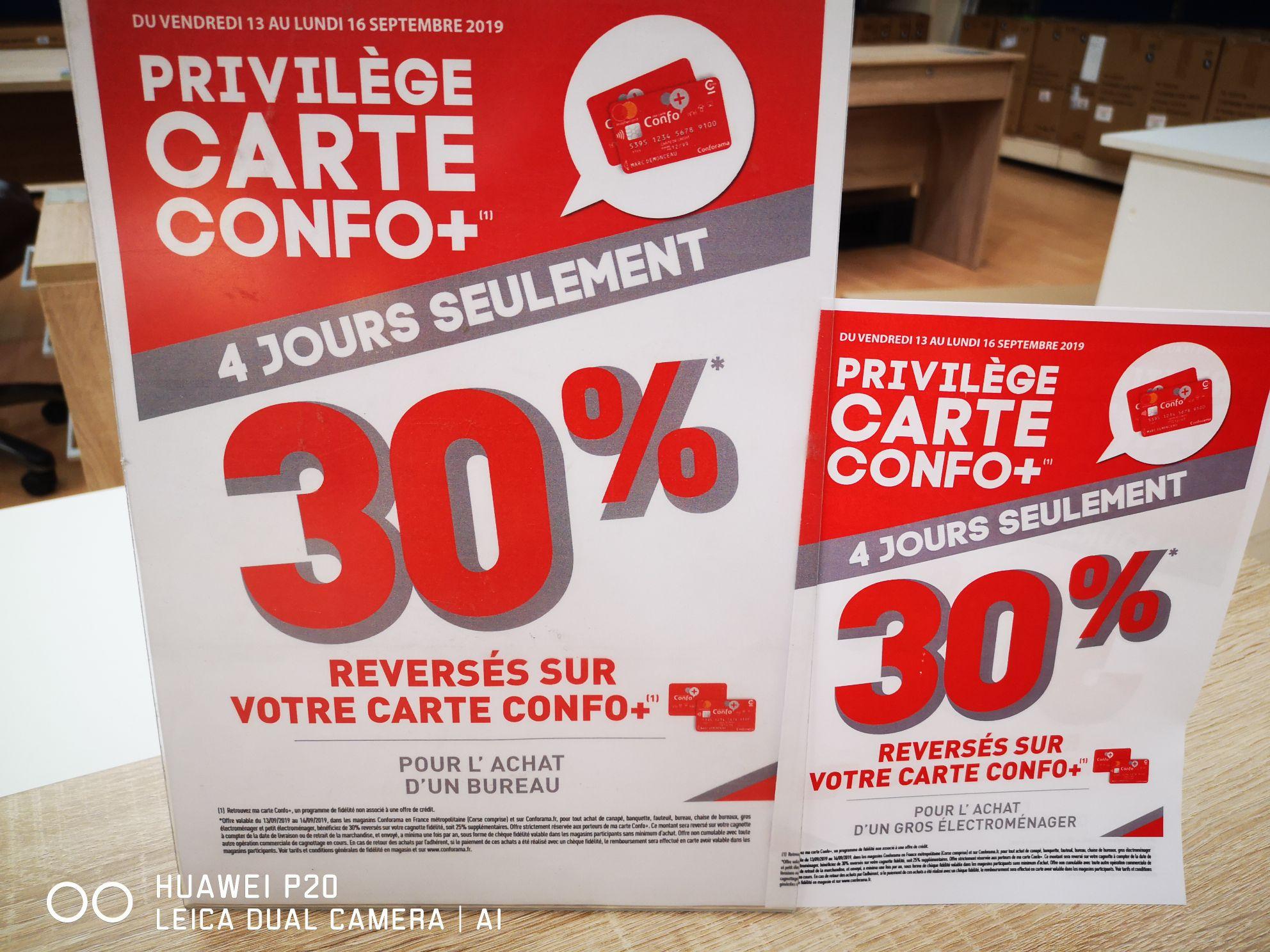 [Carte Confo+] 30% remboursés sur la carte de fidélité pour l'achat d'un Bureau, Canapé  ou d'un Gros Électroménager