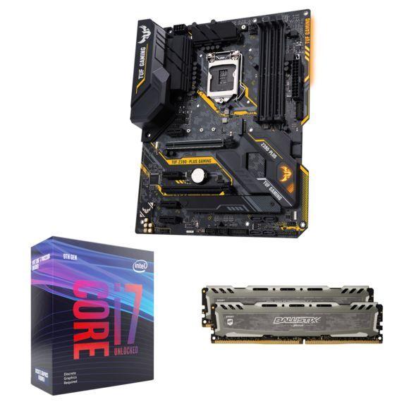 Kit évolution PC - Processeur i7-9700KF + Carte mère Asus TUF Z390 Plus Gaming - + RAM Ballistix Sport LT 2x8Go (via ODR de 50€)