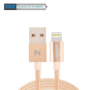 Cable lightning iPhone 5/5s/6/6s Nohon Métal - Or