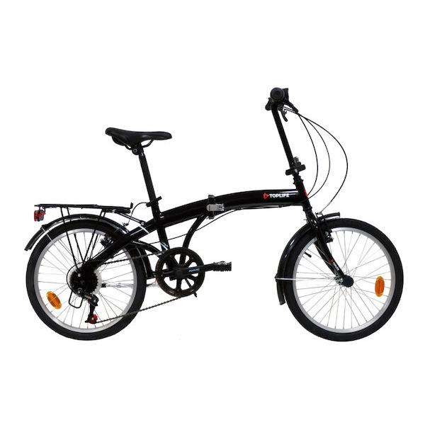"""Vélo pliant 20"""" TopLife - avec porte-bagages, en acier, noir"""