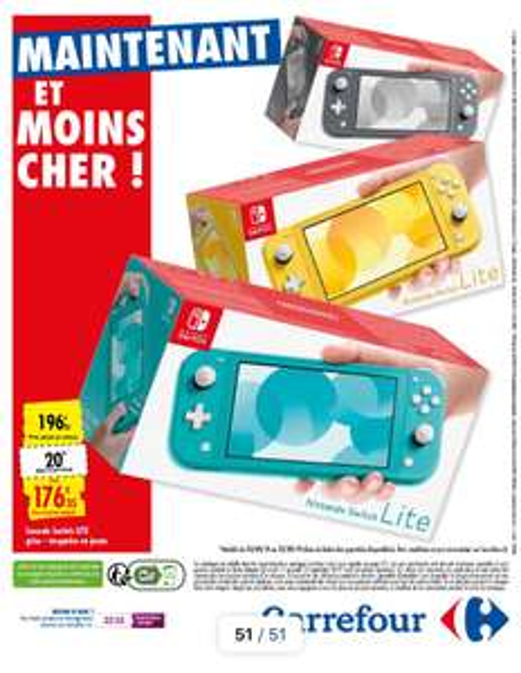 Console Nintendo Switch Lite (Via 20€ offerts en Bon d'achat)