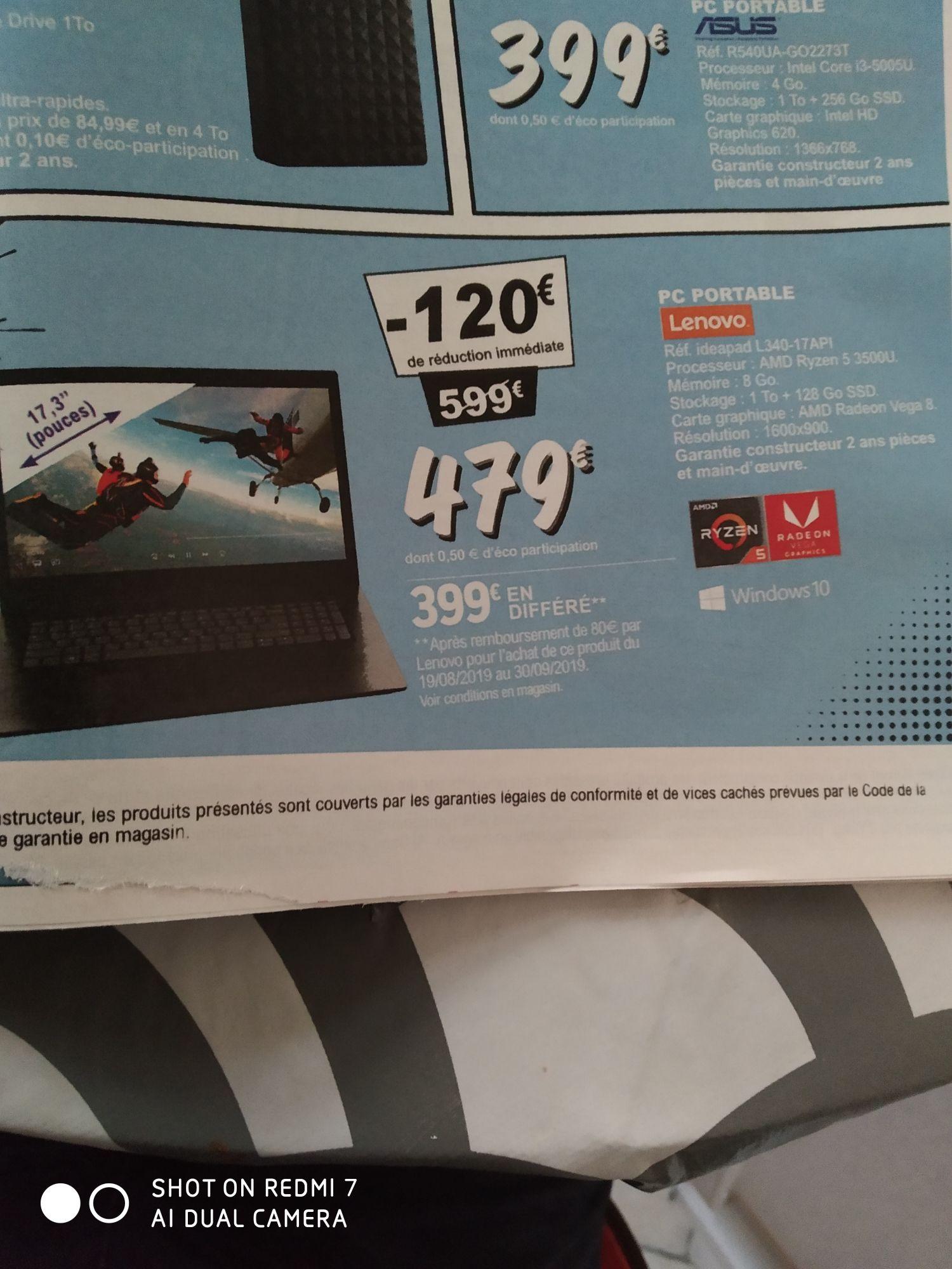 """PC Portable 17,3"""" Lenovo L340-17API -  Ryzen 5 3500U, 8Go RAM, 1To HDD, 128Go SSD (Via ODR 80€) - Saint malo (35), Bain de Bretagne (35)"""