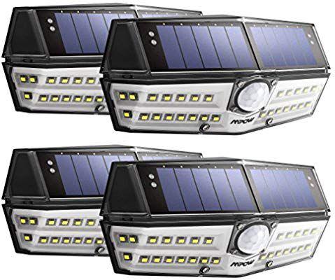Lot de 4 Lampes solaires étanches Mpow - IPX6, LEDs, Détection de mouvements (vendeur tiers)
