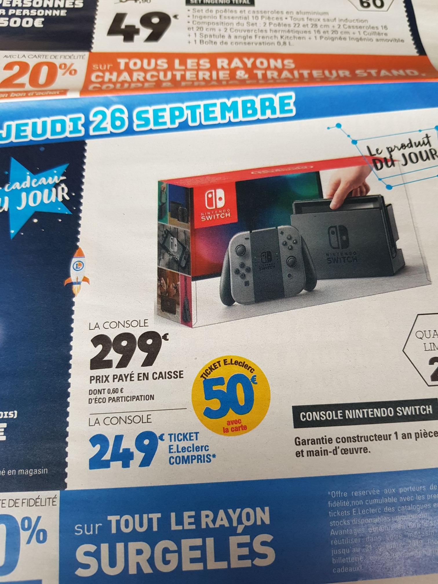Console Nintendo Switch avec paire de Joy-Con gris (Via 50€ en ticket Leclerc) - Thionville (57)