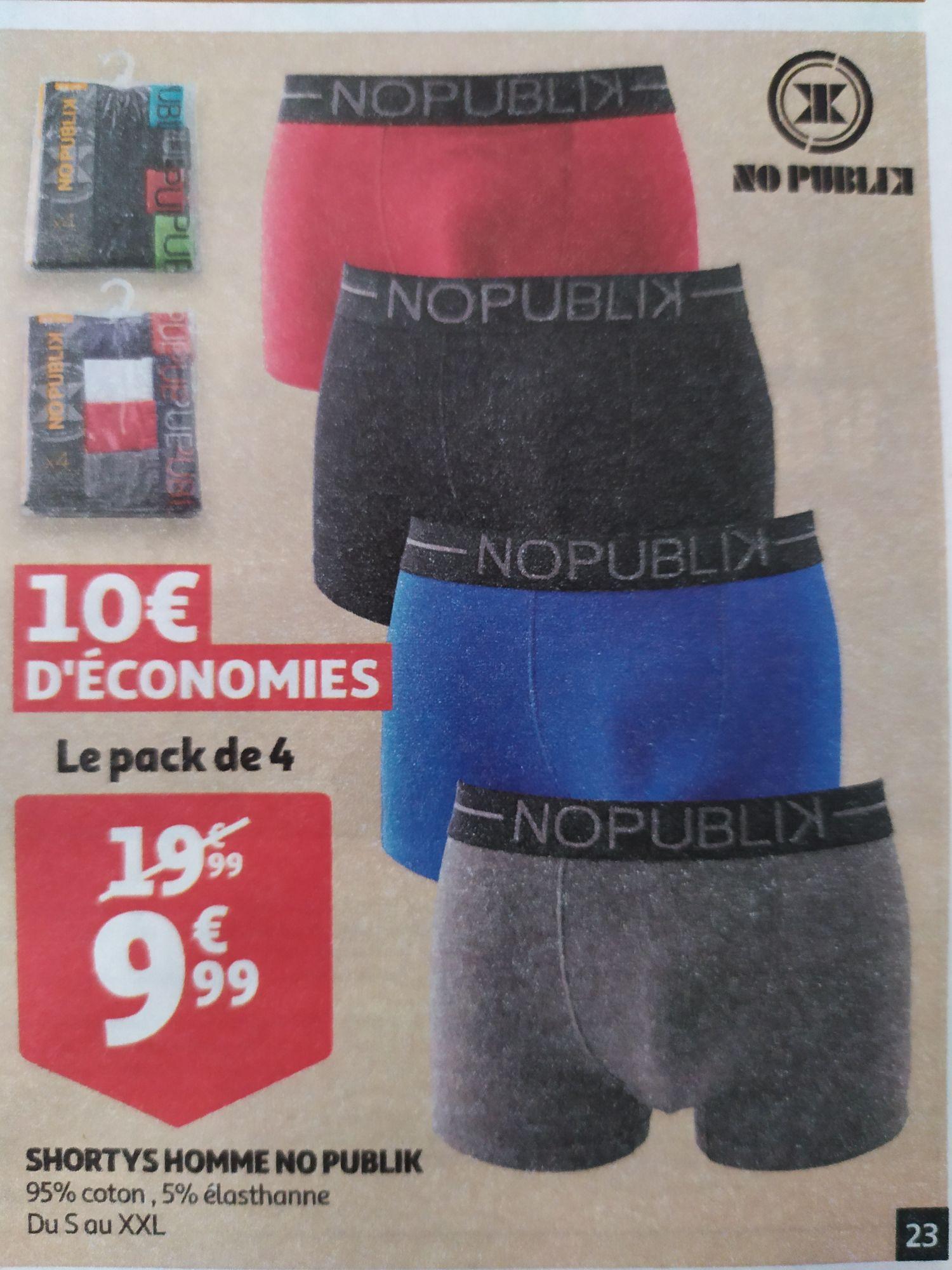 Lot de 4 boxers No Publik - différents coloris et tailles