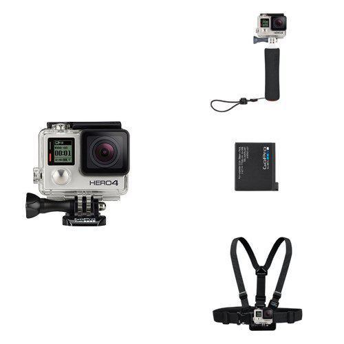 Pack Caméra sport GoPro Hero 4 Silver + Poignée Flottante + Batterie Rechargeable + Harnais de fixation torse