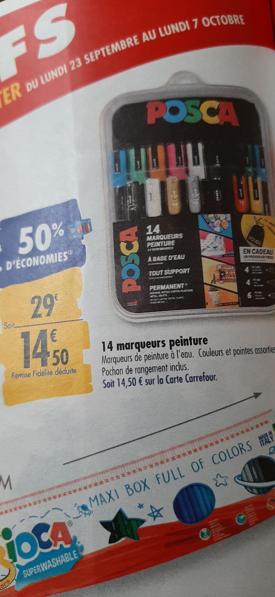 Boite de 14 marqueurs peinture avec sac de rangement Posca (Via 14,50€ sur la carte de fidélité)