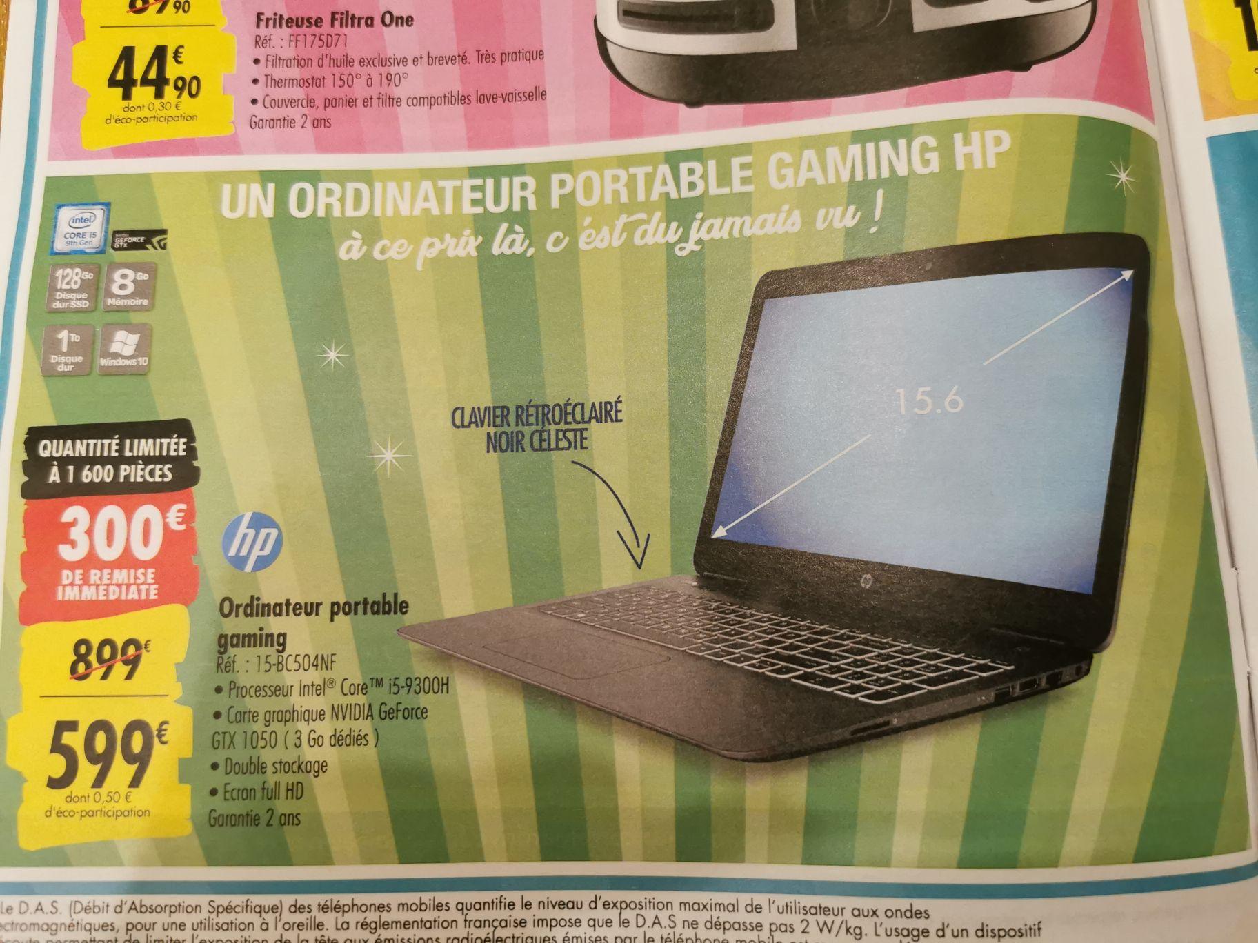 """PC portable 15.6"""" full HD HP 15-bc504nf - i5-9300H, GTX-1050 (3 Go), 8 Go de RAM, 1 To + 128 Go en SSD, Windows 10 - Venette (60)"""