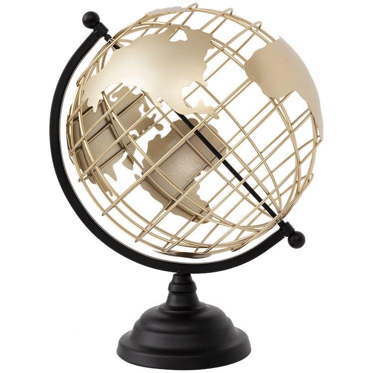 Globe terrestre en métal - 28x35cm
