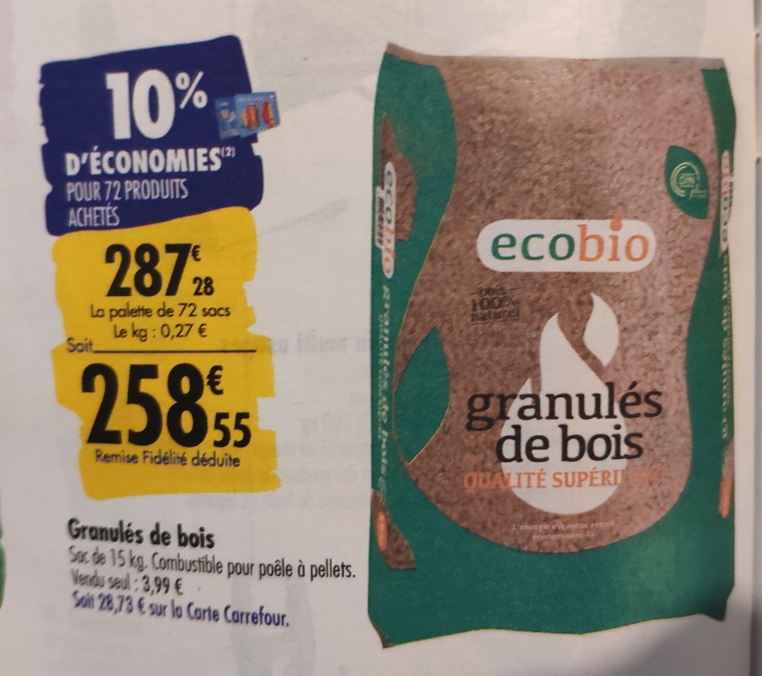 Palette de 72 sacs de granulés de bois Ecobio - 72x15 Kg