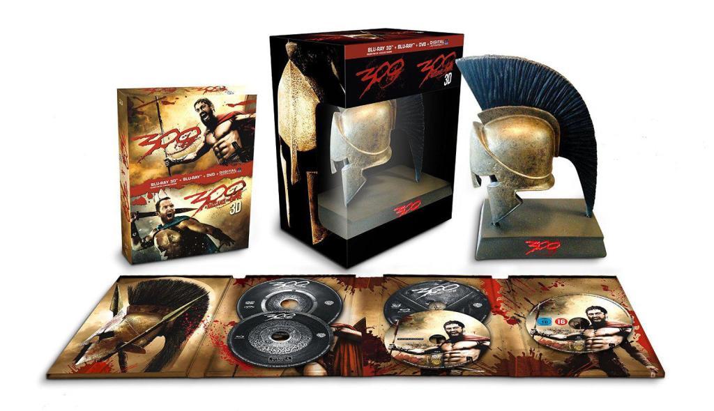 Coffret Blu-Ray/DVD/3D : 300 + 300 la naissance d'un empire - Edition limitée avec le casque spartiate