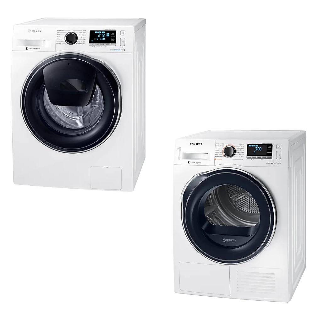 Pack lavage Samsung : Lave-linge WW90K6414QW (Eco Bubble & AddWash, 9 kg, 1400 trs/min) + Sèche-linge DV90M6200CW (9 kg) - Via ODR de 230€