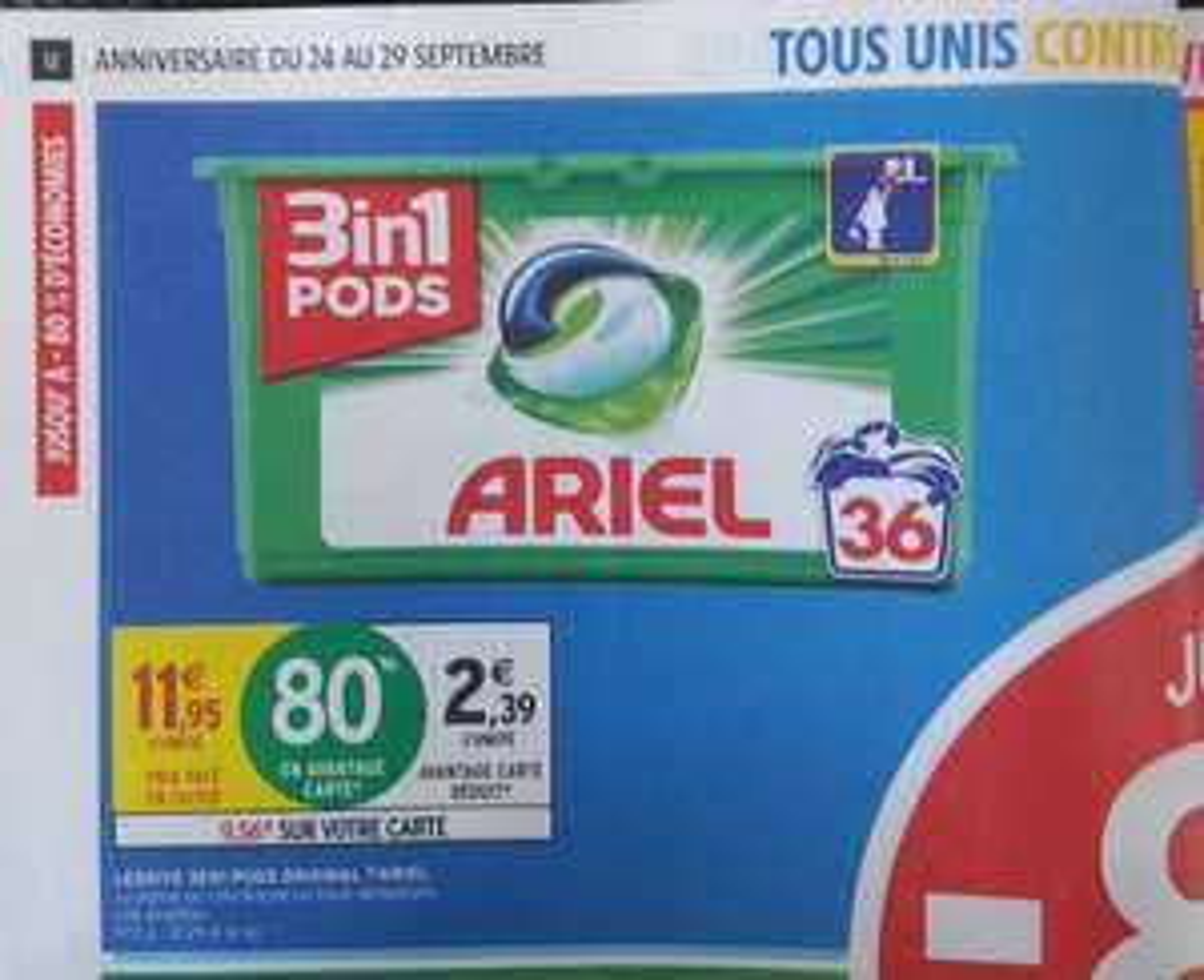 Lessive Ariel 3en1 Pods, 36 lavages (Via 9.56€ sur la Carte Fidélité)