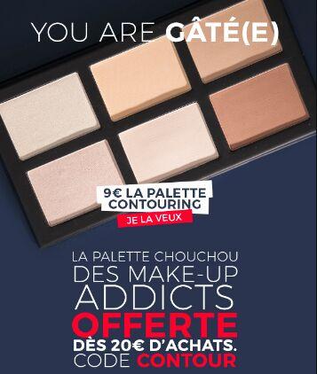 Palette contouring offerte dès 20€ d'achat (Youarecosmetics.com)