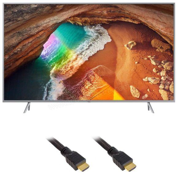"""TV 49"""" Samsung QE49Q65R (2019) - QLED, 4K UHD, HDR 10+, PQI 2500, Smart TV + Câble HDMI 1.4 tressé (1.5m)"""