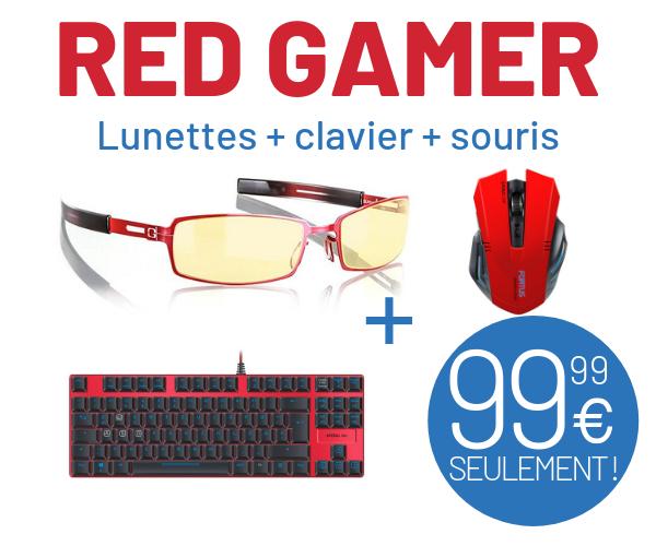 Pack Red Gamer - Clavier Ultor + Lunettes PPK + Souris Fortus (stealth-gamer.com)