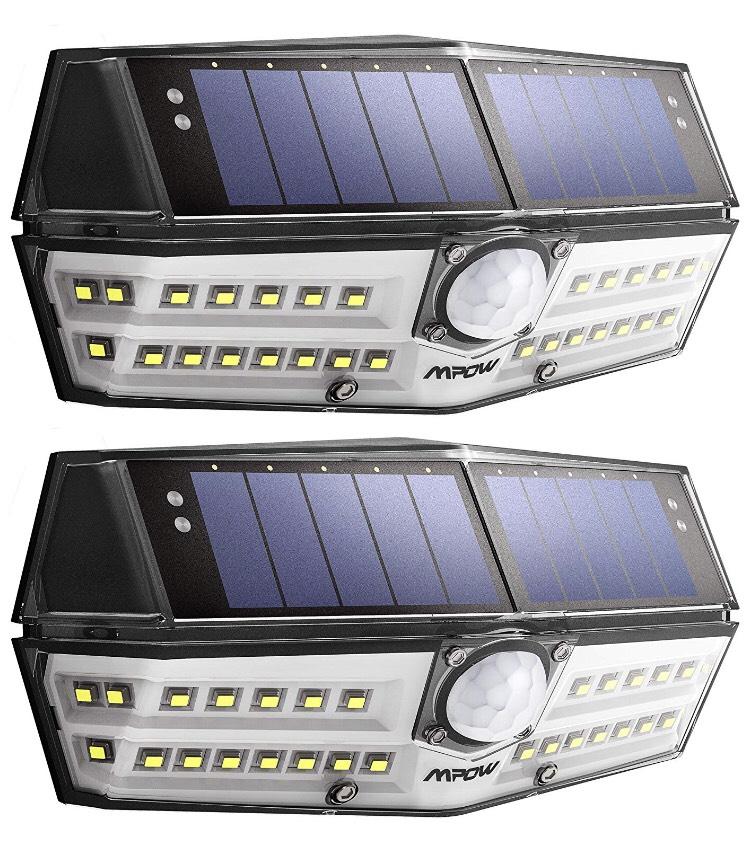 Pack de 2 Lampes solaires Mpow - 30 LED, Étanche IPX6, Détecteur de Mouvement, Panneau Solaire Amélioré (vendeur tiers)