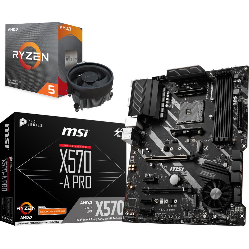 Kit Upgrade PC - Processeur AMD Ryzen 5 3600 Wraith Stealth Edition + Carte mère MSI X570-A PRO (Socket AM4)