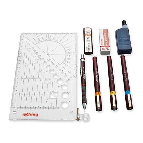 3 stylos Rotring Isograph (0,20 mm, 0,35 mm, 0,70 mm) à encre de chine et un porte mine 0,5mm