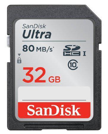 Carte SDHC SanDisk Ultra Classe 10 (jusqu'à 80 Mo/s) - 32 Go