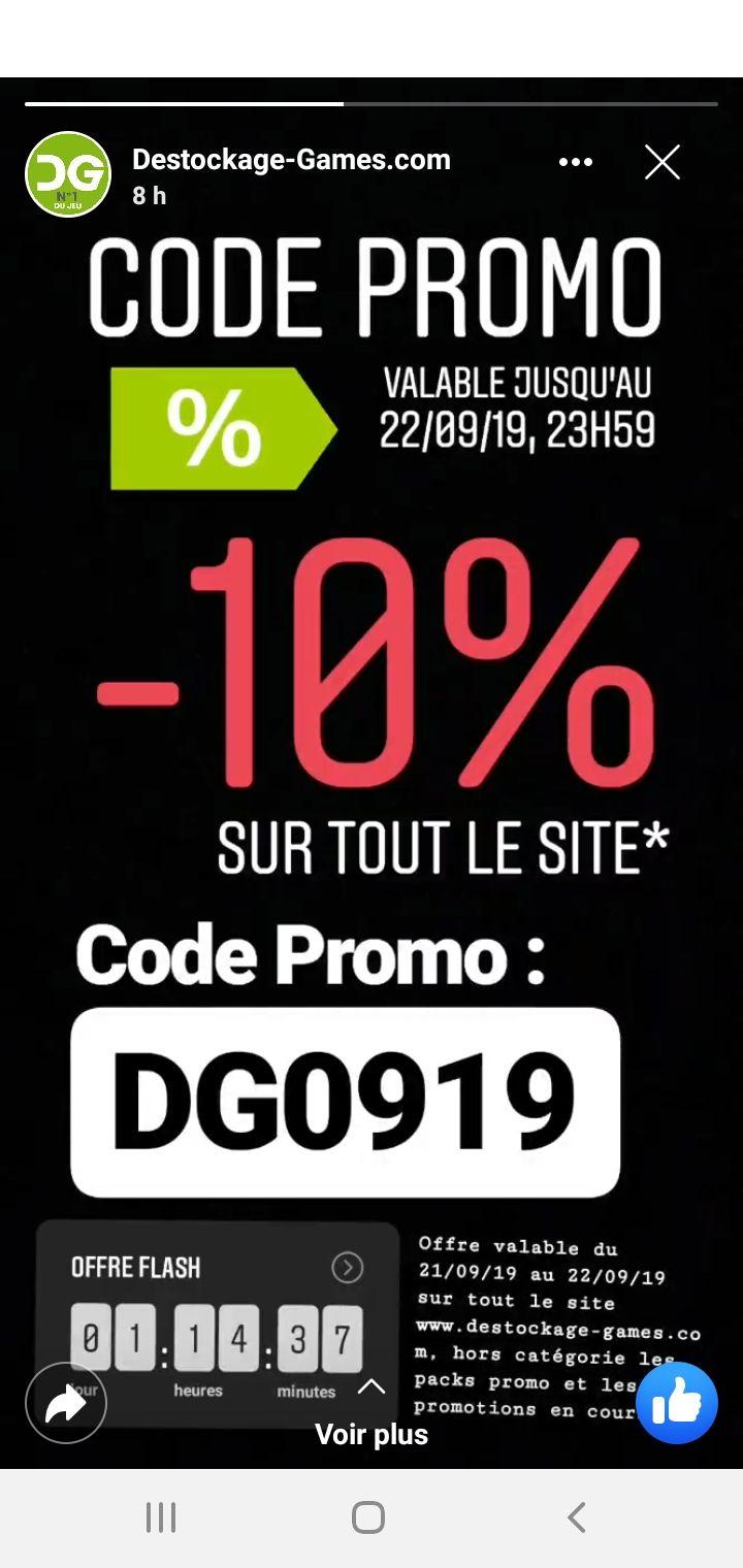 10% de réduction sur tout le site (Hors Exceptions, destockage-games.com)